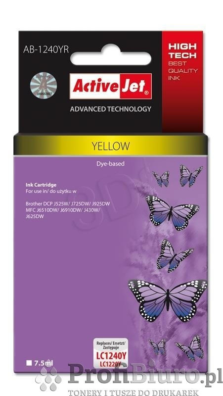 ActiveJet AB-1240YR tusz yellow do drukarki Brother, ref. (zamiennik Brother LC1240Y, Brother LC1220Y)