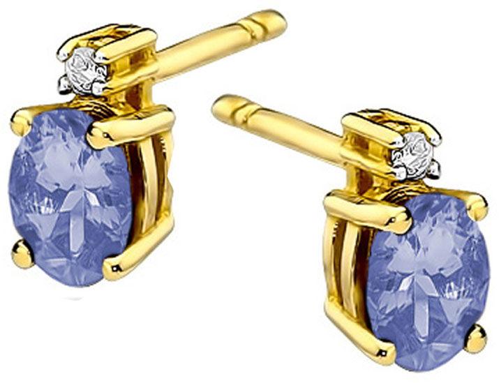 Złote kolczyki 585 z tanzanitem i diamentami sztyft