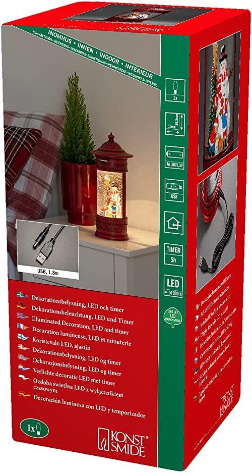 Konstsmide Dekoracje świąteczne LED kula śnieżna skrzynka pocztowa bałwan i dzieci/wnętrze, 5-godzinny timer/zasilanie bateryjne: 3 x AA 1,5 V (bez )/latarnia bożonarodzeniowa 1 ciepłe białe diody