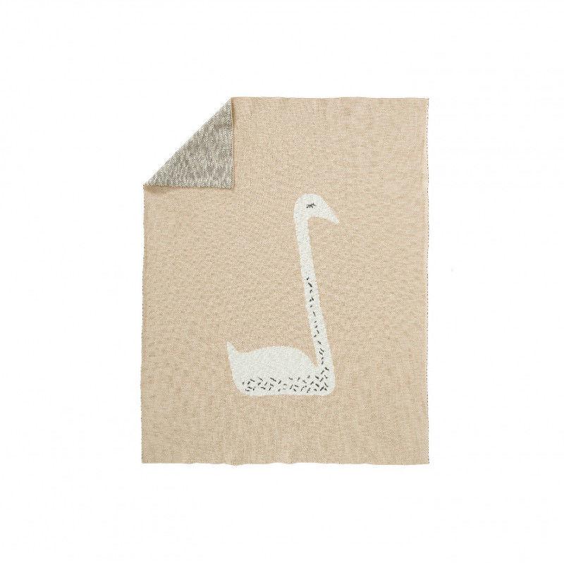 Fresk - Tkany Kocyk z Bawełny Organicznej 80 x 100 cm - Łabędź