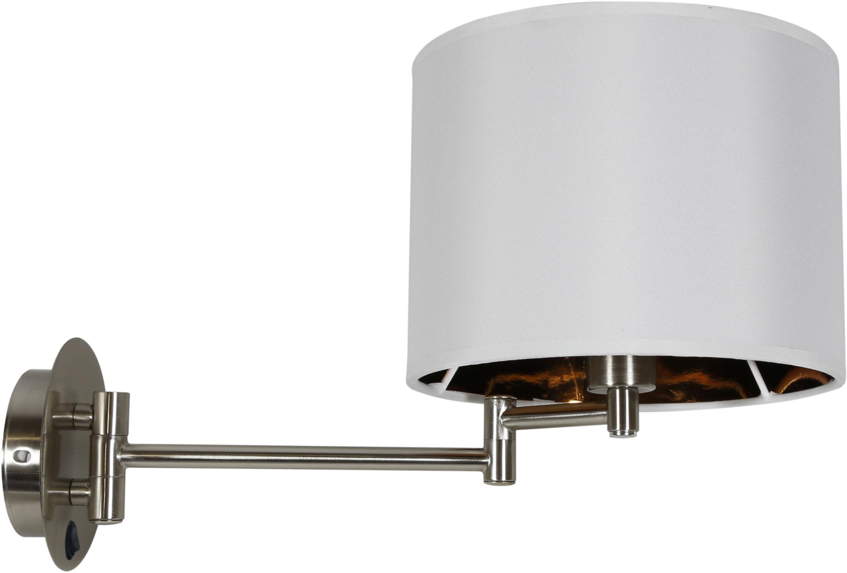 Candellux ALEXIA 21-57532 kinkiet lampa ścienna chrom abażur biały regulowane ramiona 1X40W E14 27-41cm
