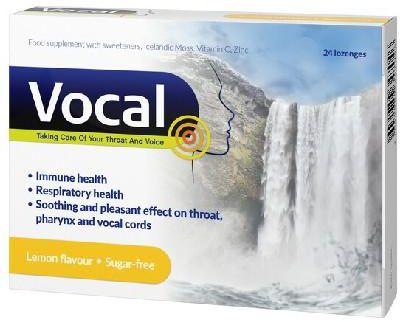 Vocal cytryna pastylki do ssania miękkie 24 sztuki