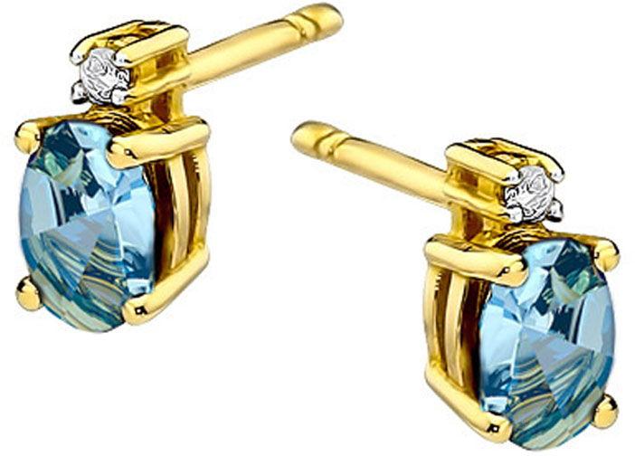 Złote kolczyki 585 z Topazem i diamentami sztyft