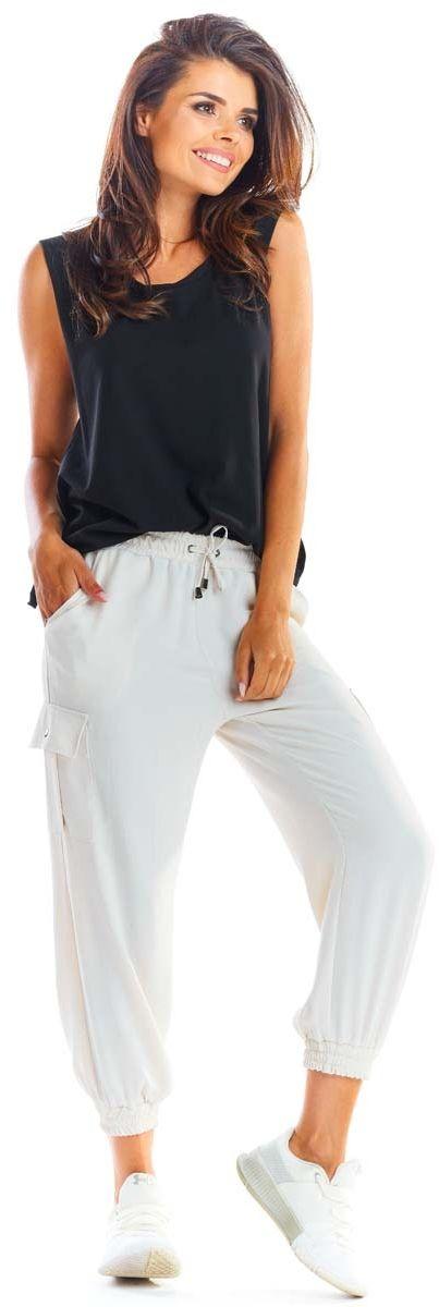 Beżowe wygodne spodnie cargo -joggery