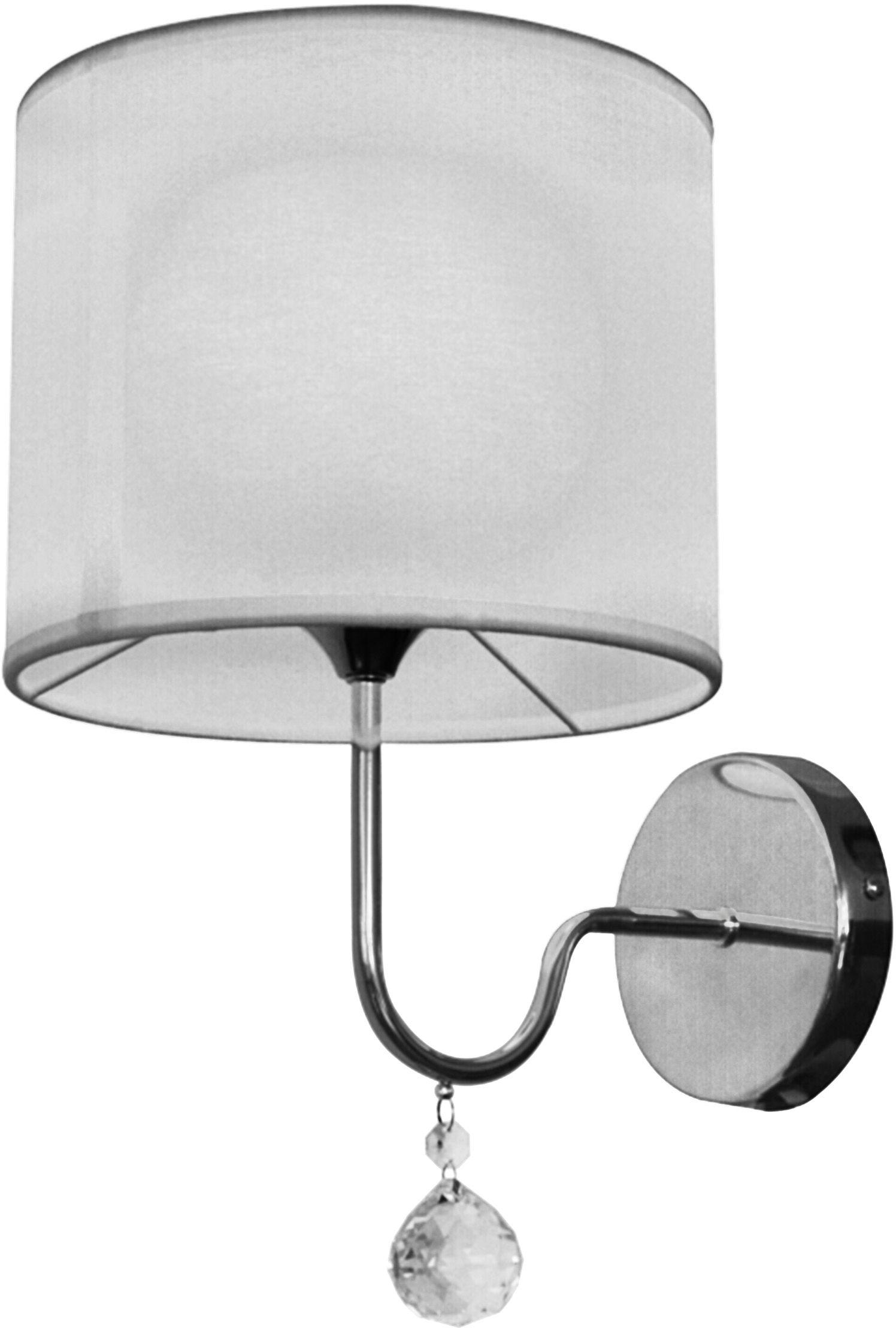 Candellux BRAVA 21-23230 kinkiet lampa ścienna biały abażur kryształki 1X60W E27 22cm