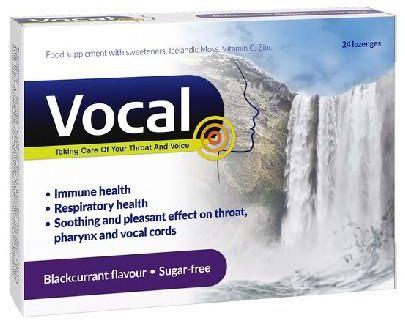 Vocal czarna porzeczka pastylki do ssania miękkie 24 sztuki