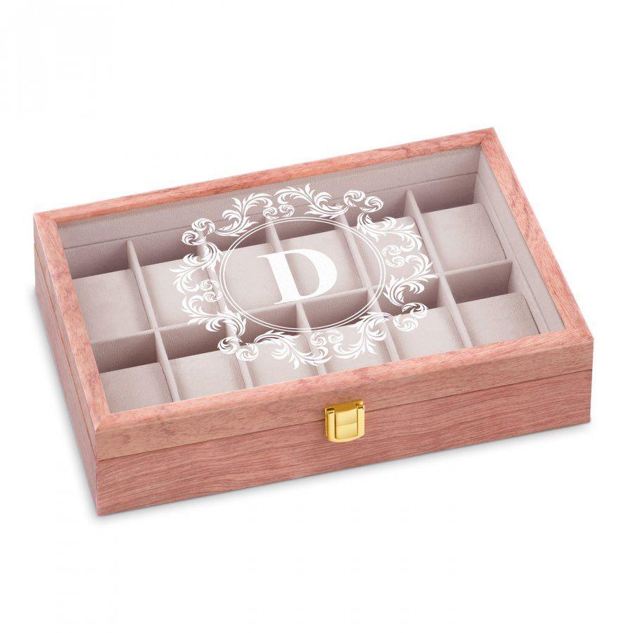 Szkatułka drewniana na zegarki z grawerem inicjał dla niej niego pary