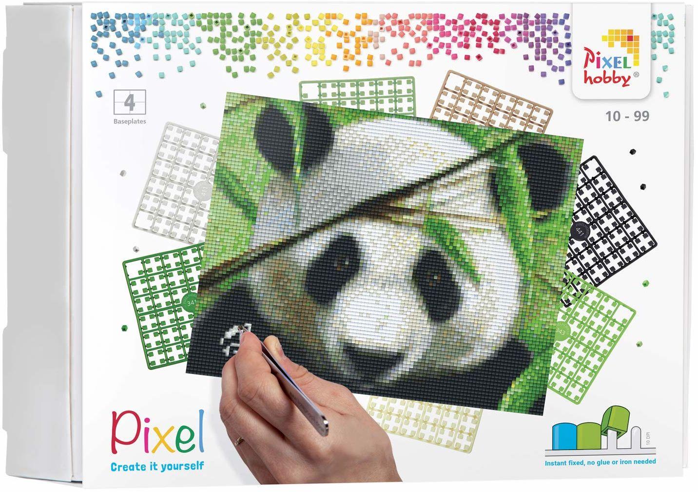 Pixel P090040 Mozaika opakowanie prezentowe Panda. Obraz pikseli około 25,4 x 20,3 cm rozmiar do tworzenia dla dzieci i dorosłych, kolorowy