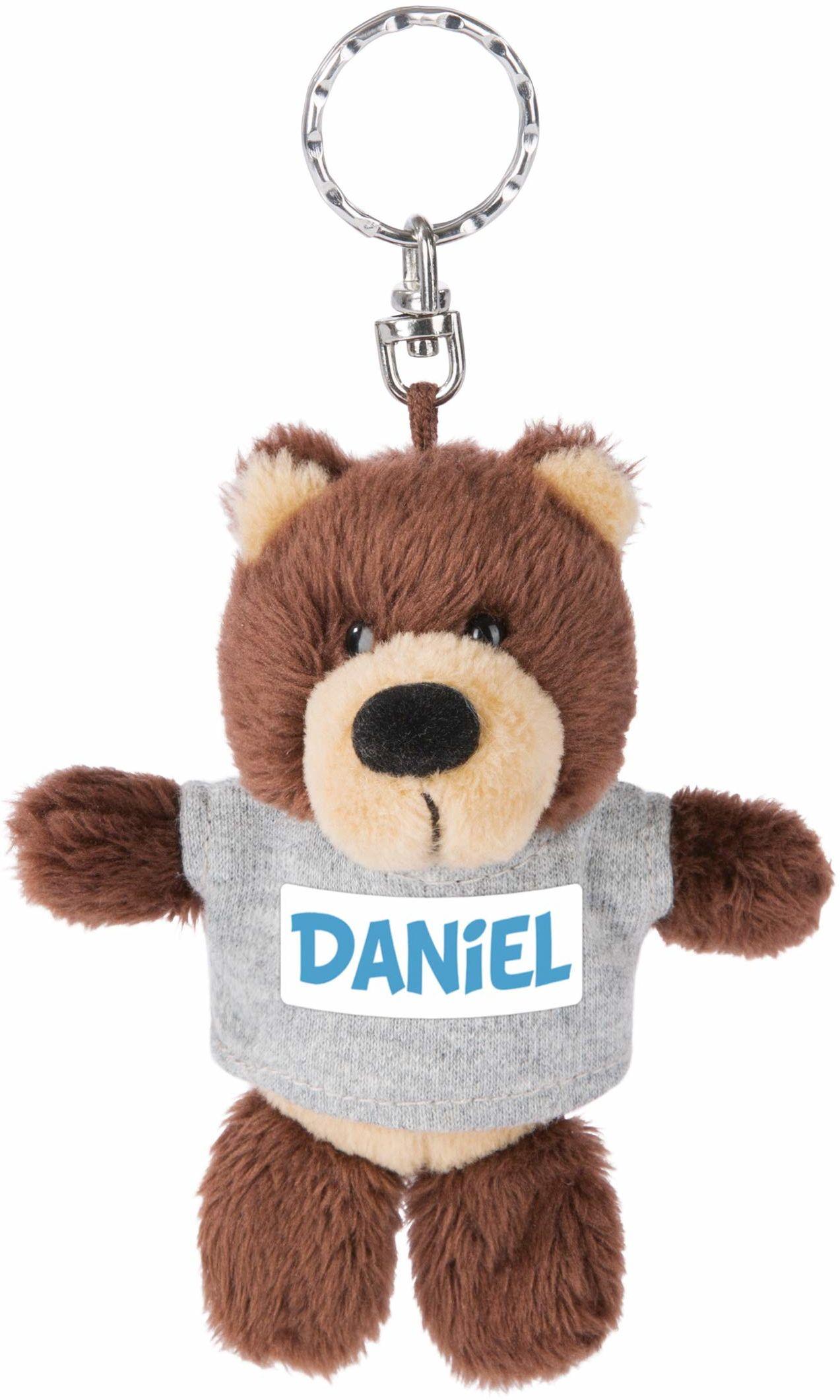 NICI 44669 breloczek do kluczy niedźwiedź z T-shirtem Daniel 10 cm, brązowy