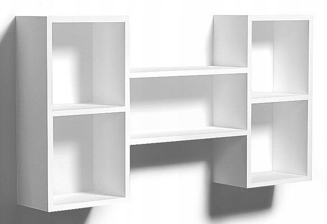 Biała wisząca półka ścienna - Calmo 2X