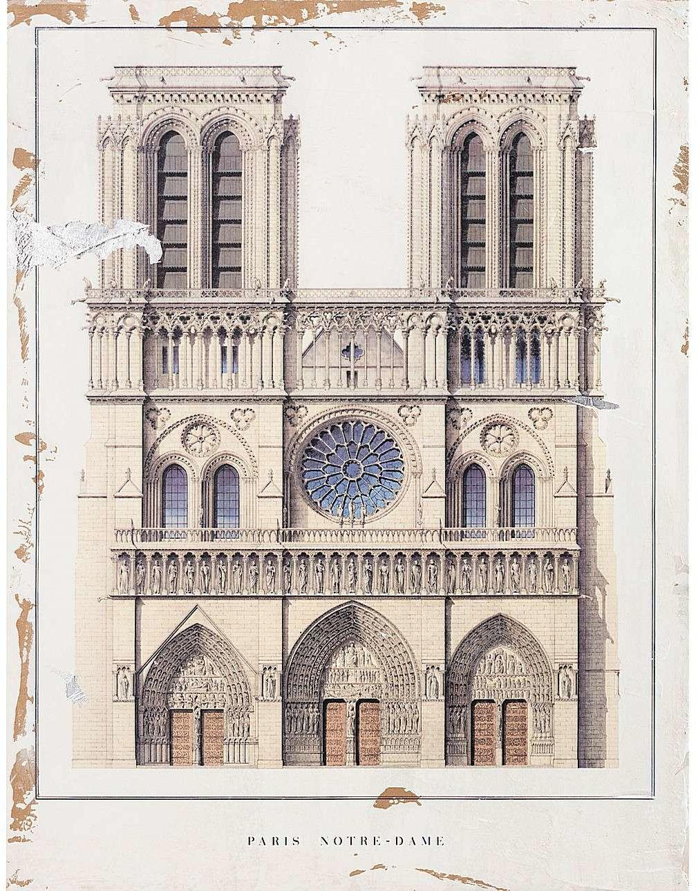 Obraz na drewnie Notre Dame 60x80cm, 60 x 4 x 80 cm