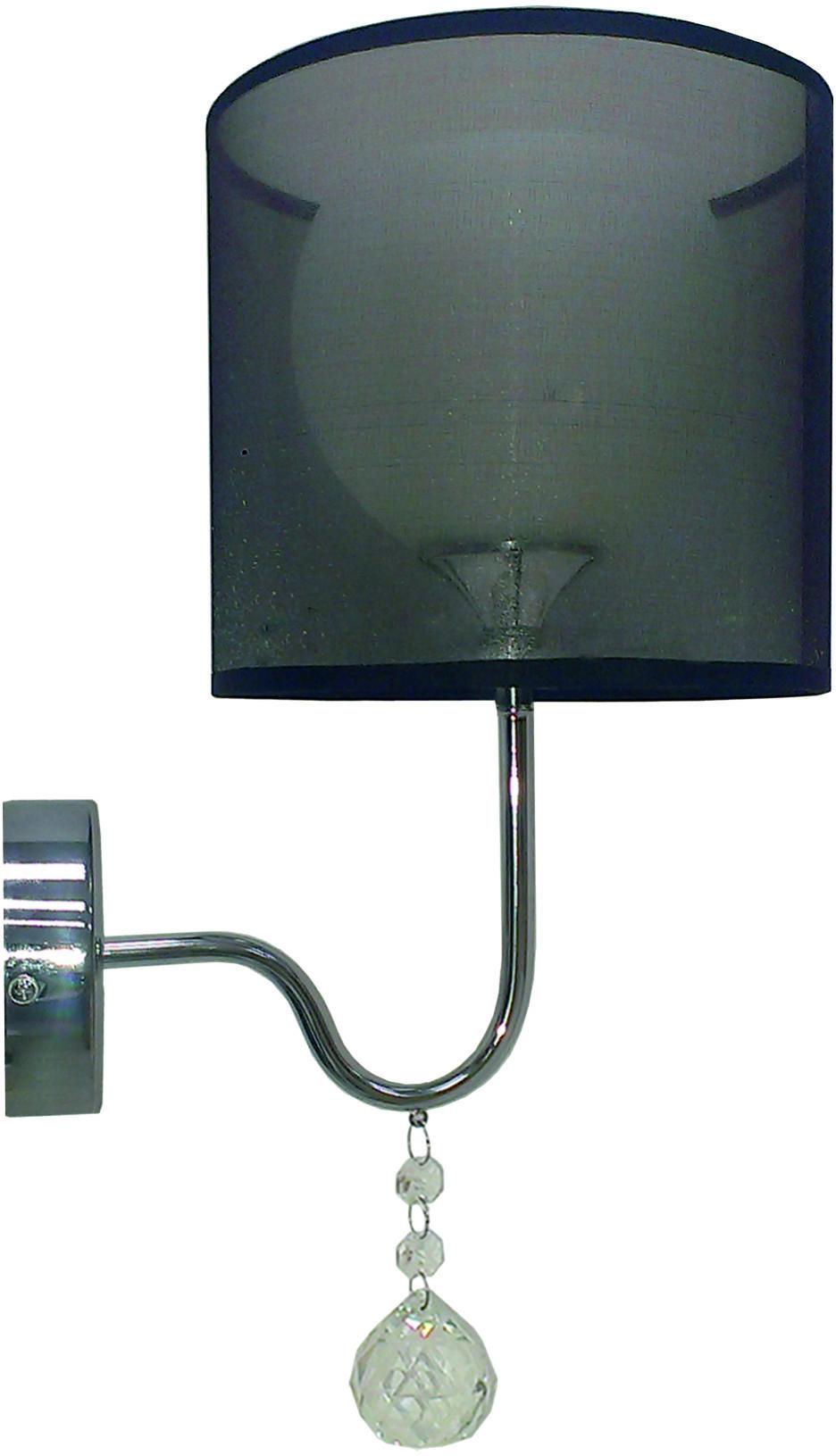Candellux BRAVA 21-26552 kinkiet lampa ścienna czarny abażur szklany klosz kryształki 1X60W E27 22cm