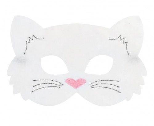 Maska filcowa Kotek biały