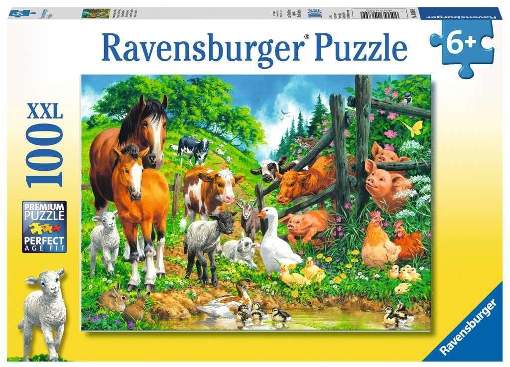 Ravensburger Puzzle 10689 Ravensburger Wiejskie Zwierzaki 100 Elementów Puzzle Dla Dzieci (10689) Unikalne Elementy, Technologia Softclick - Klocki Pasują Idealnie