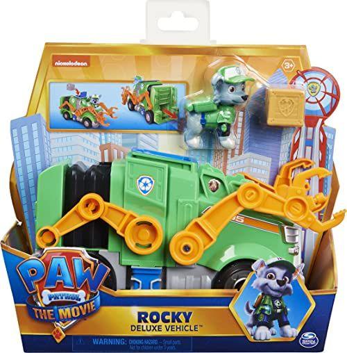 PAW PATROL Rocky''s Deluxe film transformujący zabawka samochód z kolekcjonerską figurką akcji, zabawki dla dzieci dla dzieci od 3 lat