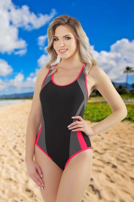 Jednoczęściowy strój kąpielowy Zara czarny z różowym obszyciem brzegów