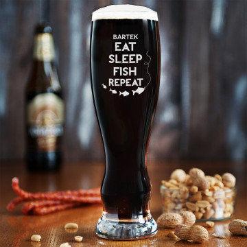 Eat, sleep, fish - Grawerowana Szklanka do piwa