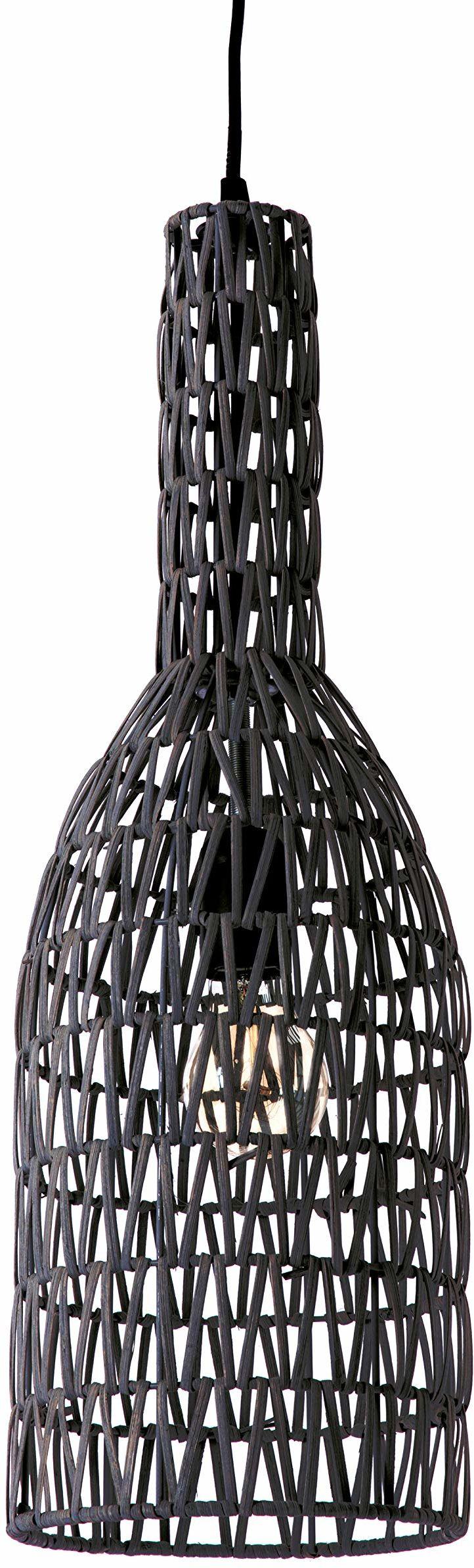 Lussiol 250272 lampa wisząca, rattan, 60 W, czarna, ø 15 x wys. 60 cm