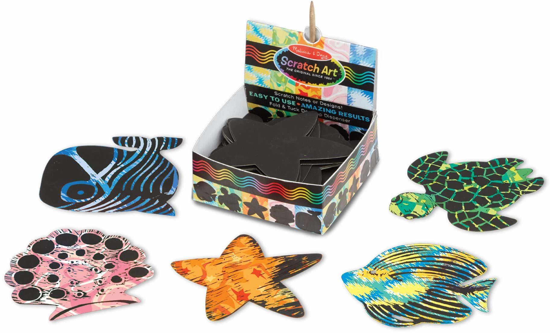 Melissa&Doug 42041 Ocean Mini notes Sztuka i rzemiosło sztuka zdrapka 4+ prezent dla chłopców lub dziewcząt