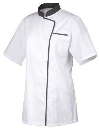 Bluza kucharska Expression z szarą lamówką krótki rękaw S