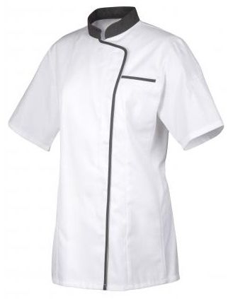 Bluza kucharska Expression z szarą lamówką krótki rękaw M