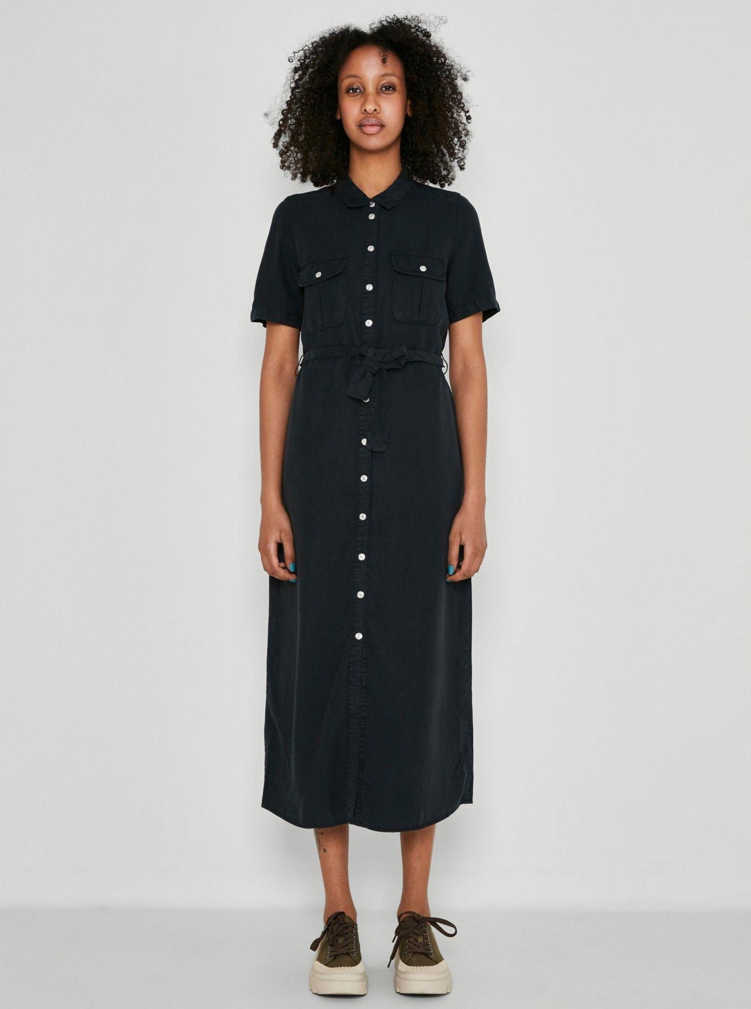 Noisy May czarna maxi sukienka koszulowa Cersei