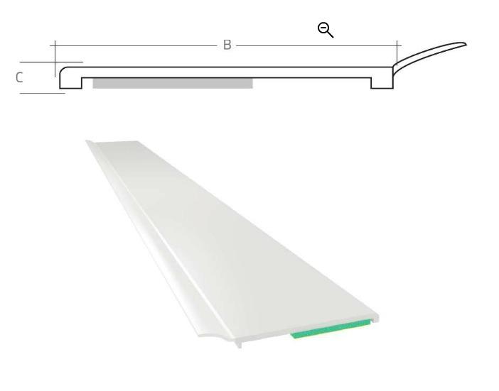 Listwa maskująca płaska samoprzylepna PCV B=70 mm gr. C=1,5 mm biała z uszczelką L=50 mb