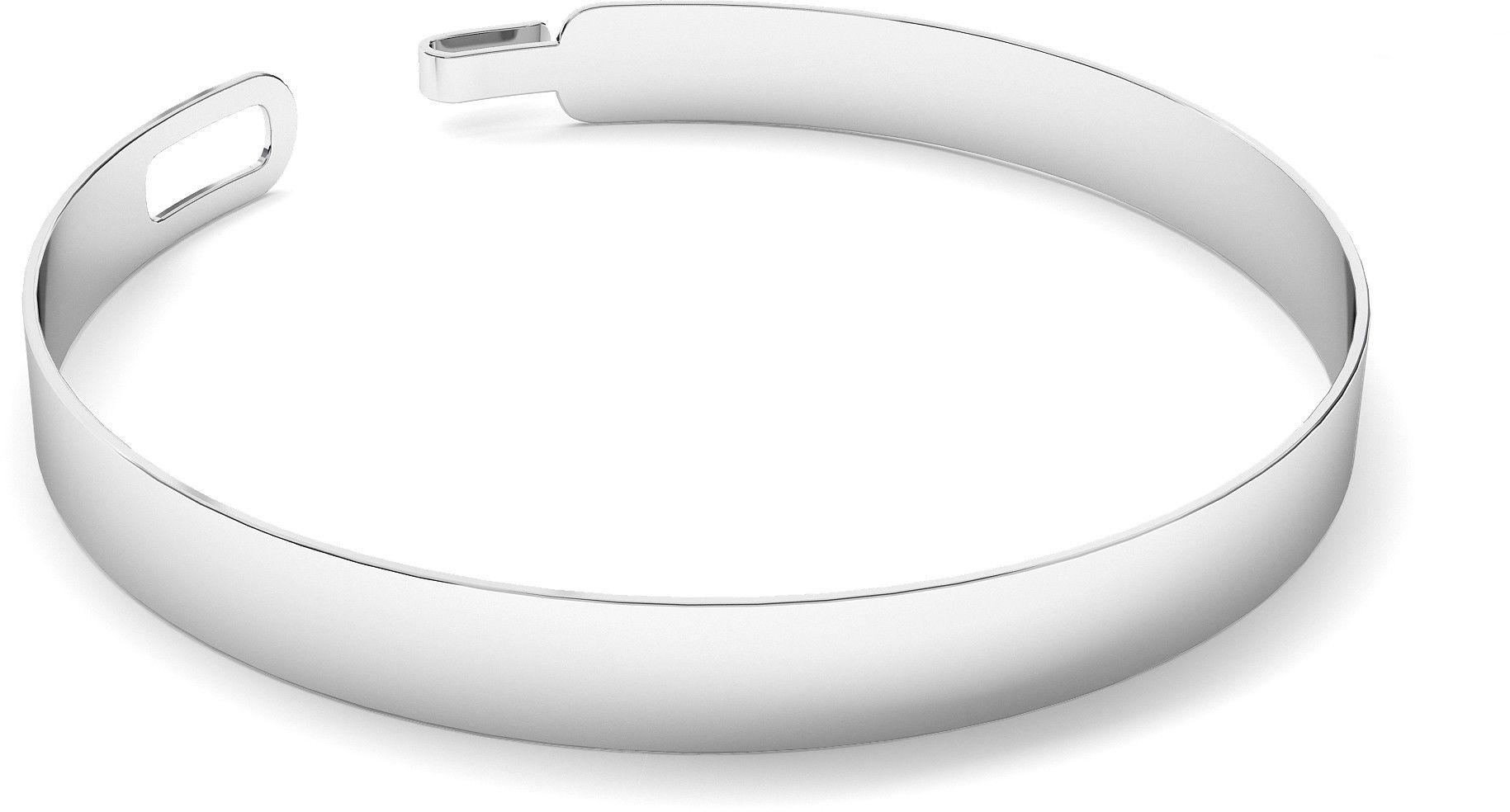 Męska szeroka polerowana sztywna bransoletka, srebro 925 : Kolor pokrycia srebra - Pokrycie platyną, Sztywne bransoletki - męski rozmiar - S - 18 CM