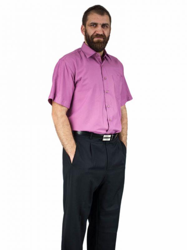 Wizytowa koszula męska z krótkim rękawem BRUDNY RÓŻ