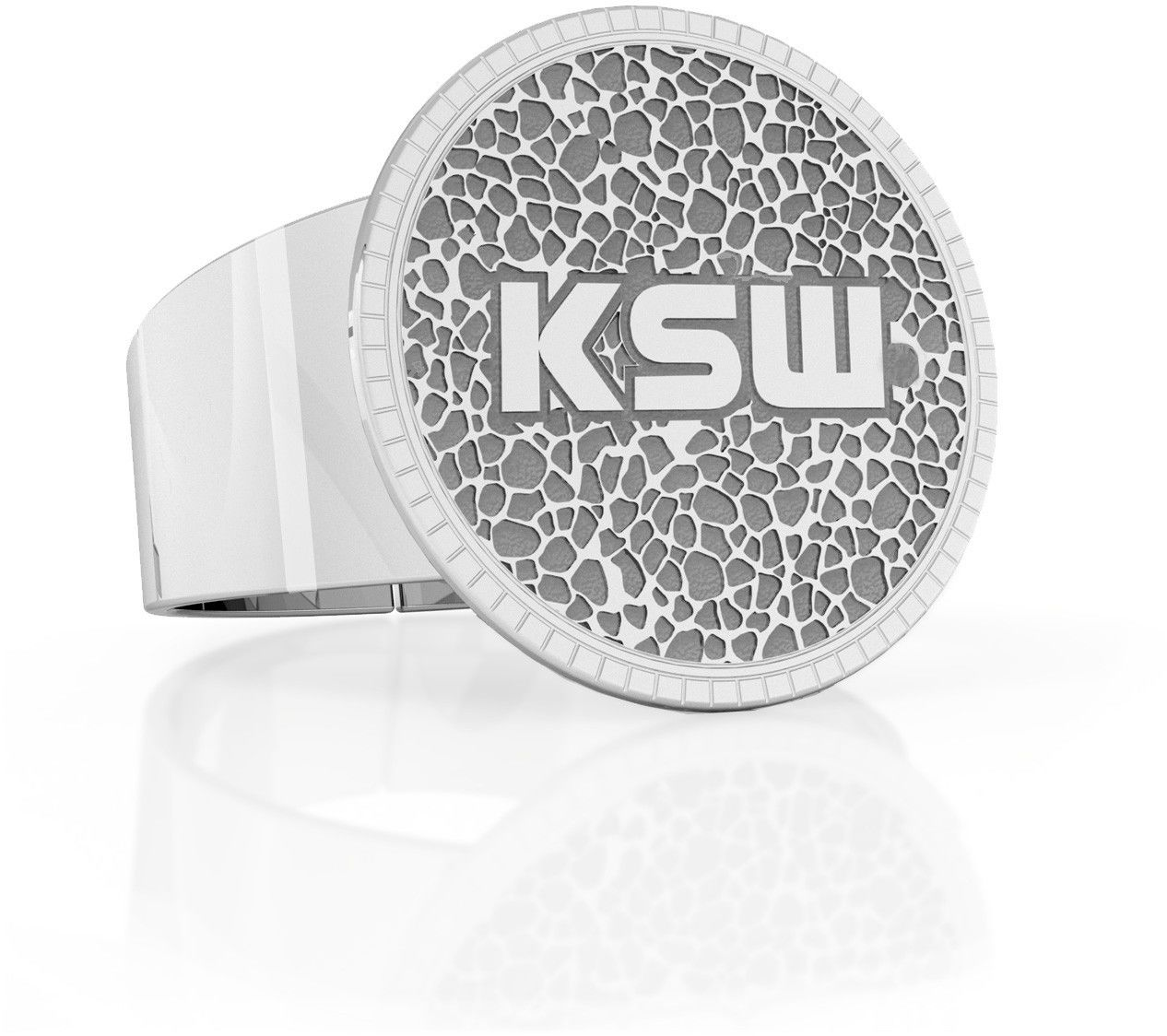 Sygnet ze wzorem, logo KSW, srebro 925 : Srebro - kolor pokrycia - Platyną