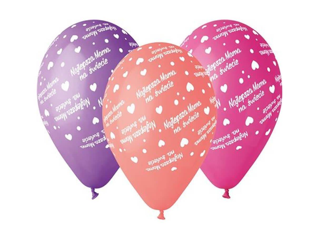 Balony pastelowe Najlepsza Mama - 30 cm - 5 szt.