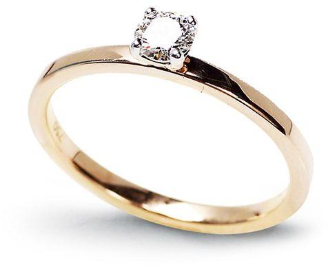 Staviori pierścionek z żółtego złota pr. 0,585, diament masa 0,20 ct.