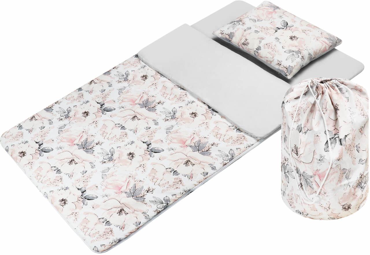 Śpiwór dla dzieci do spania flowers szare - bawełna
