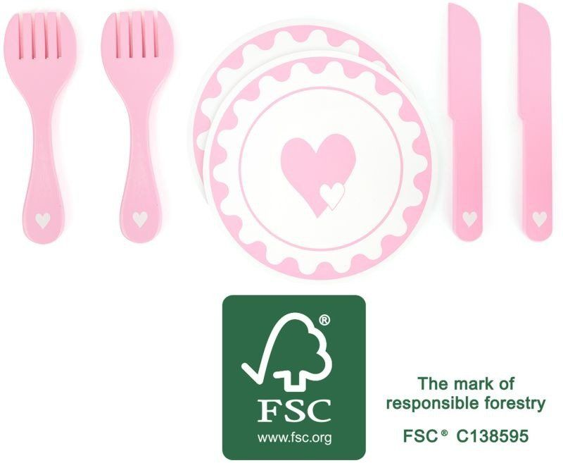 Naczynia dla dzieci Różowe serduszko 10890-Small Foot, Zabawki dla dziewczynek