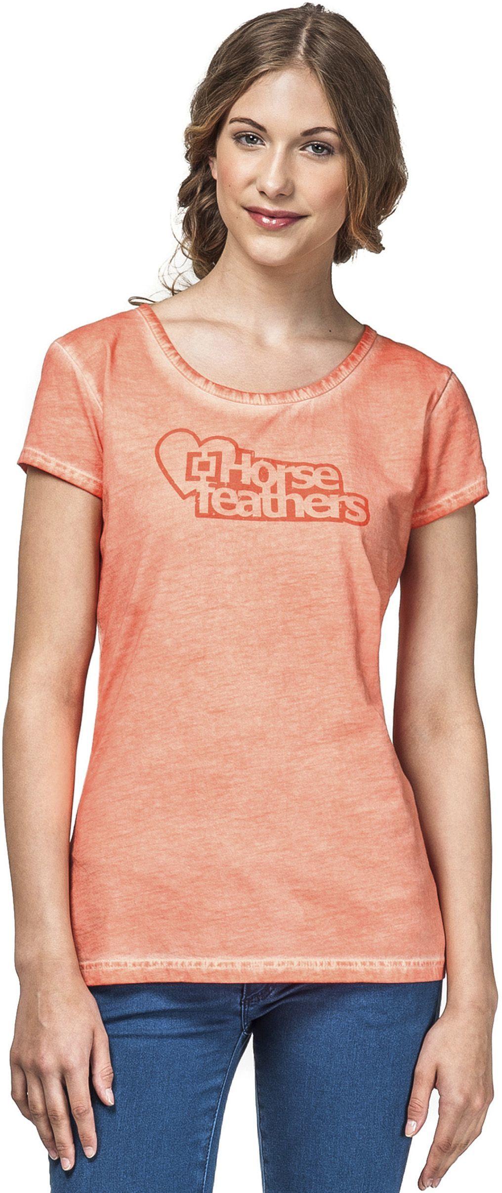 t-shirt damski HORSEFEATHERS LOVE LOGO TOP (washed peach)