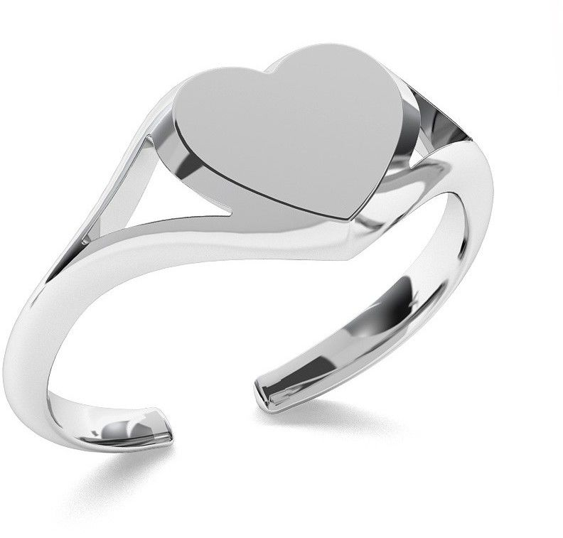 Srebrny pierścionek serce, dowolna litera, srebro 925 : Srebro - kolor pokrycia - Pokrycie platyną