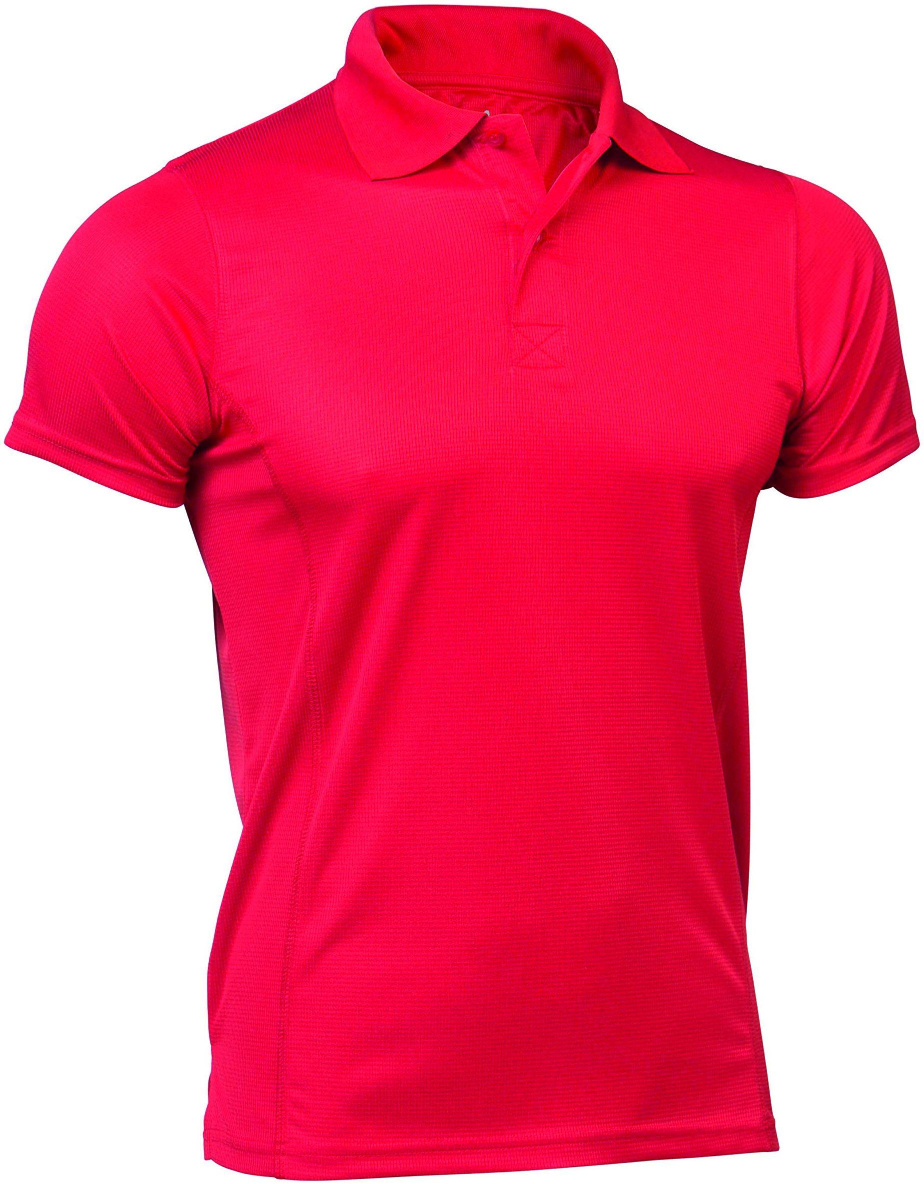 Asioka - 08/13 Techniczna koszulka polo z krótkimi rękawami, gładka, unisex, dorośli. M czerwony