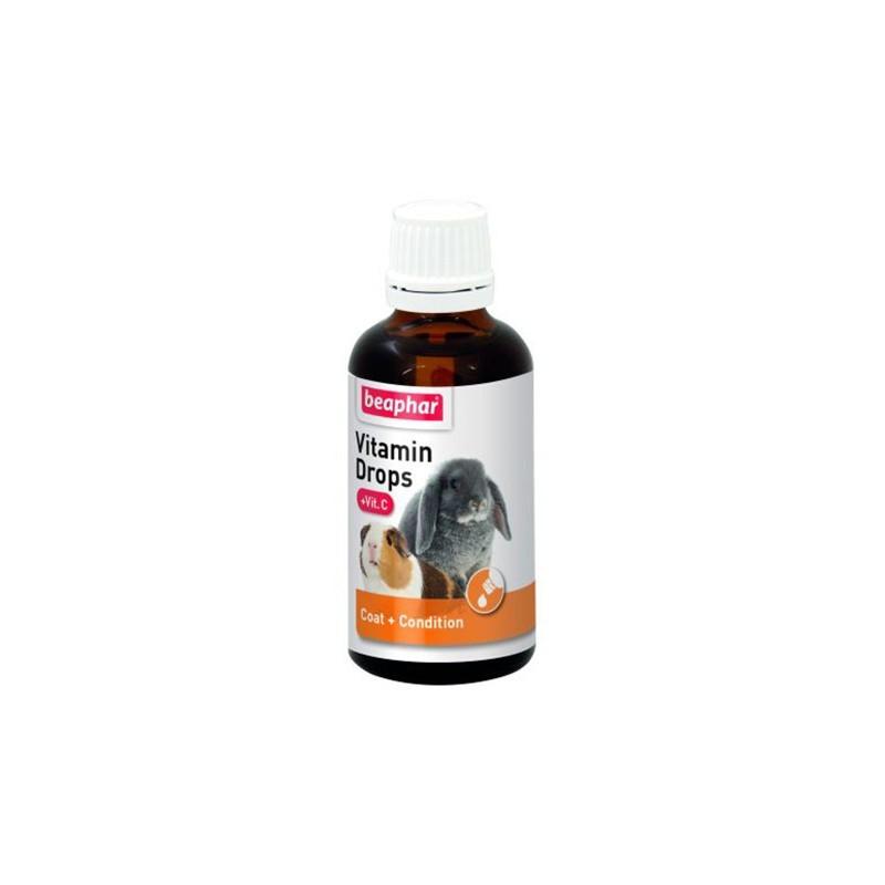 Beaphar Vitamin Drops + Vit.C 50 ml - preparat witaminowy dla królików i gryzoni