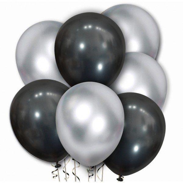 Zestaw balonów chromowanych srebrne i czarne 20 sztuk ZB46