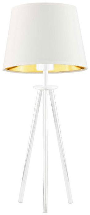 Lampka stołowa z abażurem na białym stelażu - EX919-Bergel - 5 kolorów