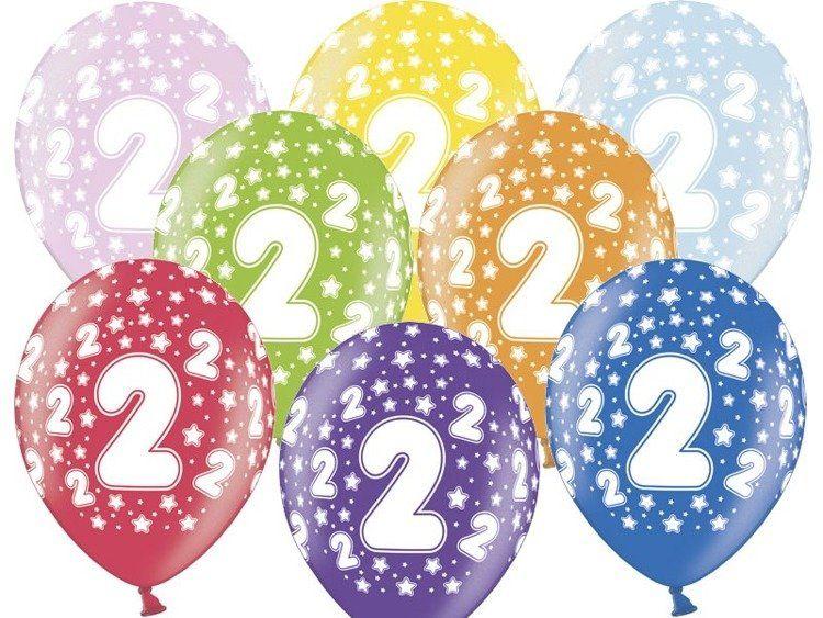 Balony 2 na drugie urodziny 6 sztuk SB14M-002-000-6