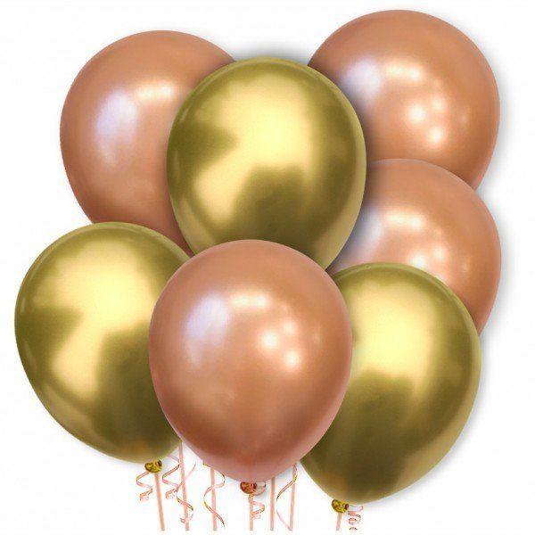 Zestaw balonów chromowanych złote i rose gold 20 sztuk ZB48