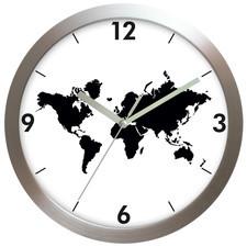 Zegar aluminiowy Mapa Świata