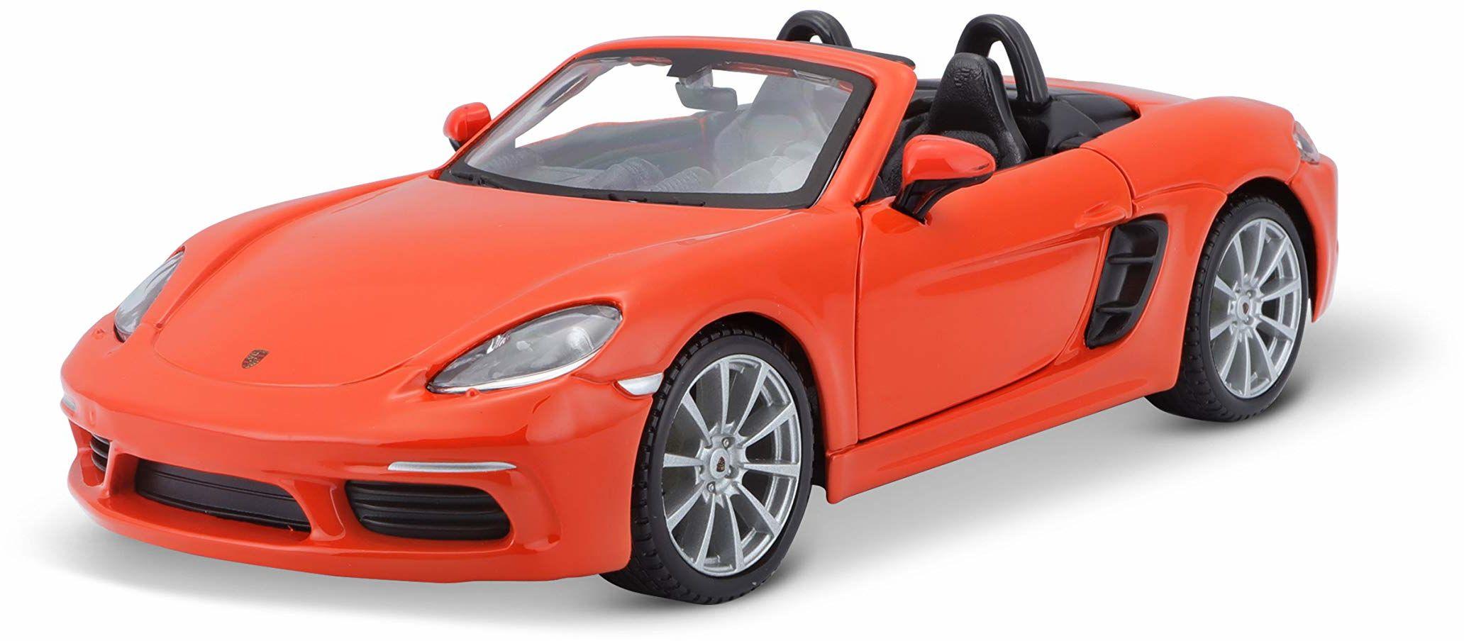 Bauer Spielwaren Porsche 718 Boxster: model samochodu w skali 1:24 drzwi otwierane 19 cm pomarańczowy (18-21087OR) B18-21087