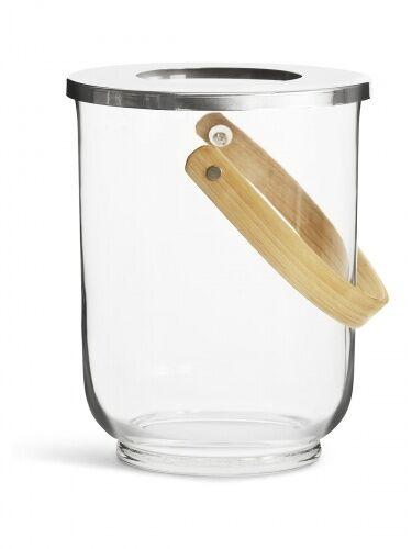 szklane wiaderko do szampana, wazon lub lampion, śred. 18,5 x 23 cm