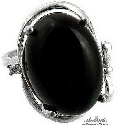 CZARNY ONYKS przepiękny pierścionek SREBRO