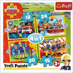 Trefl Pomocny Strażak Sam Puzzle 4 w 1 o Wysokiej Jakości Nadruku dla Dzieci od 3 lat