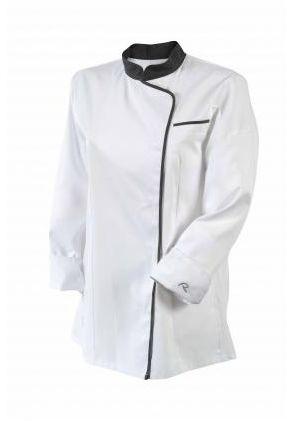 Bluza kucharska Expression biała z lamówką długi rękaw XS