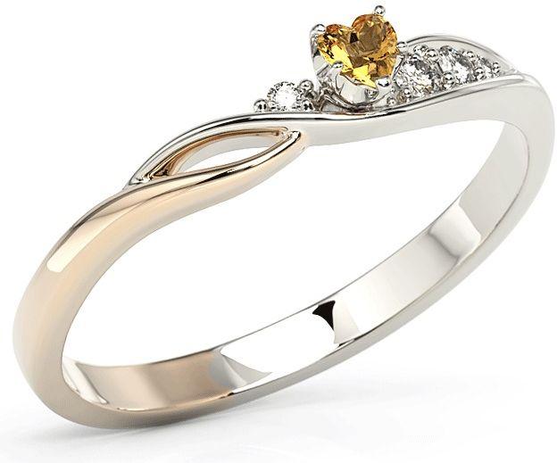 Pierścionek z białego i różowego złota z topazem swarovski honey i cyrkoniami bp-81bp-top-hon/c