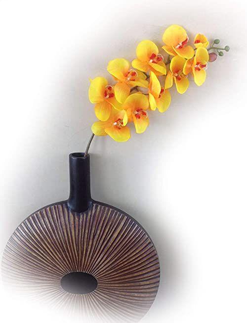 Gałązka storczyka 107 cm XXL pomarańczowa jedwabne kwiaty sztuczne orchidea jak prawdziwa